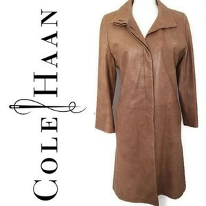 Cole Haan Camel Colored Leather Trench Coat